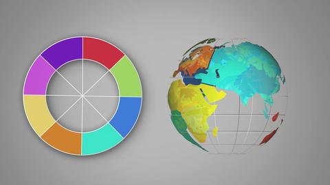 Colour wheel beside a rotating globe Animation