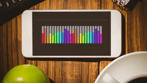Smart phone with colourful bar graphs Animation