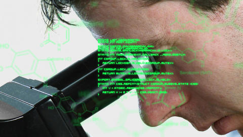 Man looking into microscope with green text and data in foreground Animation