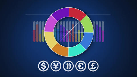 Colourful circle chart, graph and currency symbols on dark blue Animation