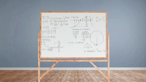 Mathematical equations and figures in a whiteboard Animation