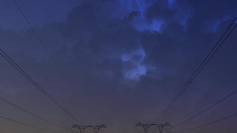 Transmission towers and clouds Animation