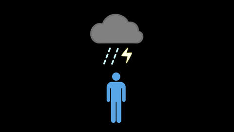 Person standing under a storm cloud Animation