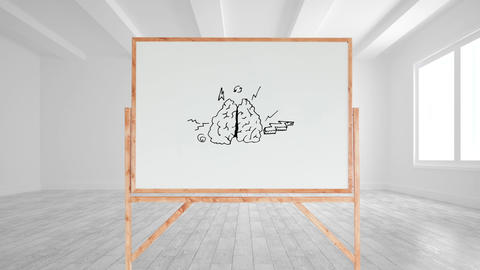 Drawing of a brain and different arrows in a white board Animation