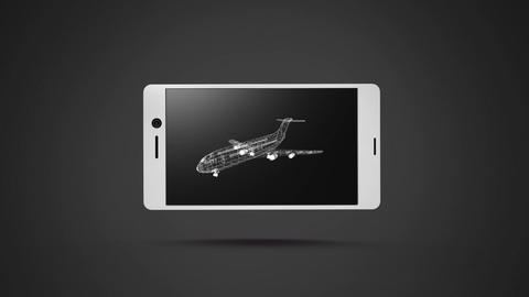 Digital 3D model of a plane of a smartphone screen Animation