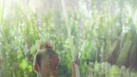 Girl in a swing and grass Animation