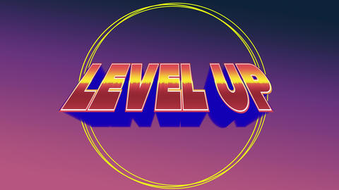 Level up sign for an arcade game Animation