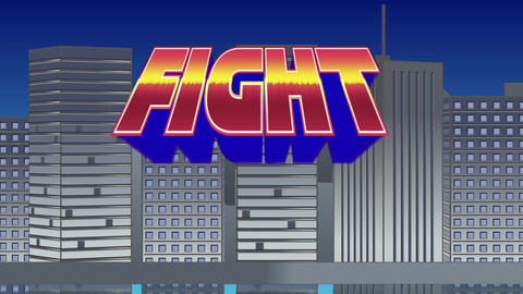 Fight sign and buildings Animation