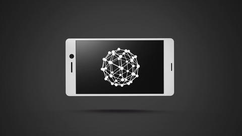 Smartphone with a sphere wire frame on its screen Animation