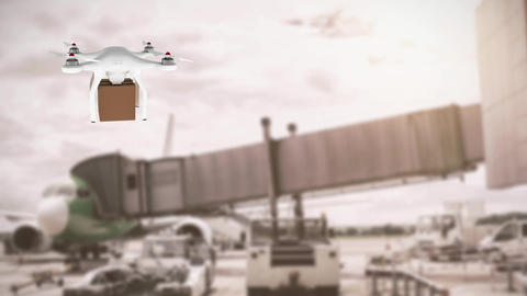 Drone carrying a box in an airport Animation
