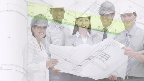 Architects and engineers holding a building plan Animation