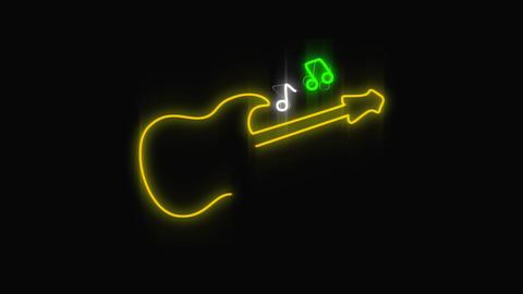 Led light guitar and music signage Animation