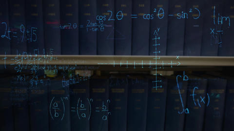 Mathematical equations with figures and a book shelf Animation
