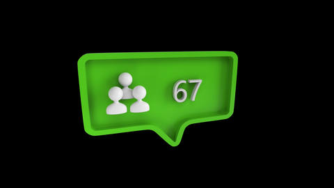 Subscribe icon with increasing count in social media Animation