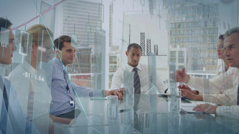 Business people and graphs 4k Animation