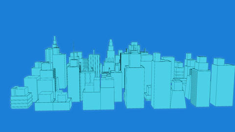 Virtual buildings in a city Animation