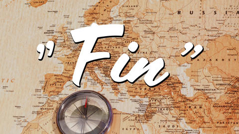 Fin sign and a world map Animation