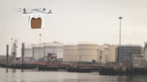 Drone carrying a box in a port Animation