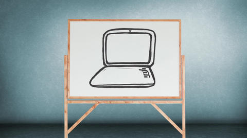 Drawing of a laptop in a white board Animation