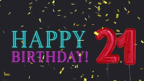 21st birthday greeting Animation
