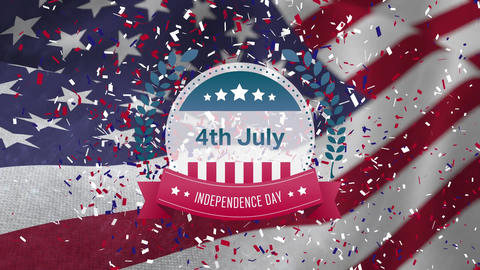 4th of July, Independence Day text in banner and American flag with confetti Animation