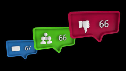 Icons with increasing count in social media Animation