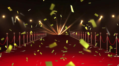 Red carpet and confetti 4k Animation