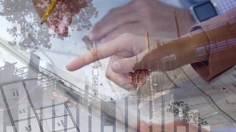 Different graphs, hands drawing and holding a tablet, and a building in construction Animation