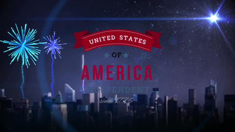 United States of America text in banner and fireworks over a city Animation