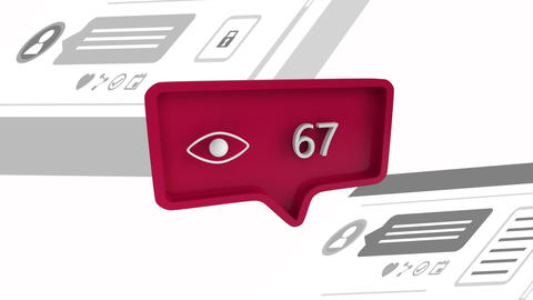 Eye icon with increasing number count for social media Animation