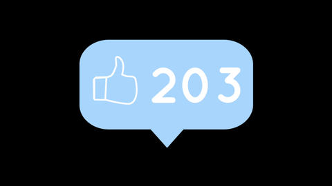 Message bubble icon with increasing numbers and like icon for social media 4k Animation