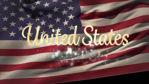 United States text and American flag Animation