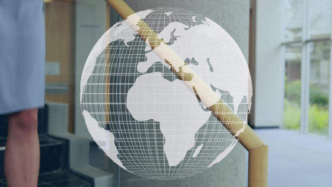 Man and woman doing a handshake and a globe 4k Animation