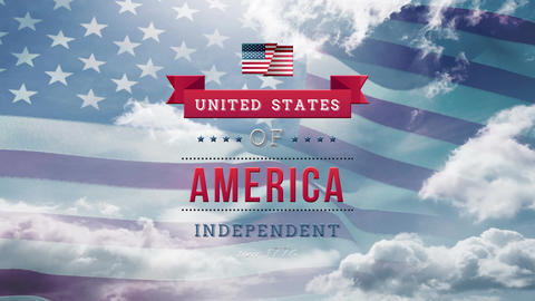 United States of America, Independent text in banner with flag and the sky Animation