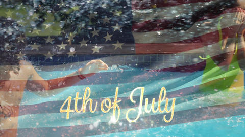 Group of friends in a pool and the American flag with a 4th of July text Animation