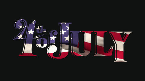 4th of July text and American flag Animation