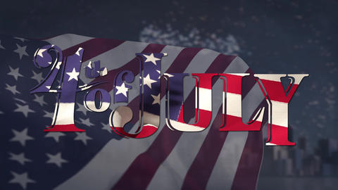 4th of July text with American flag and view of the city with fireworks Animation