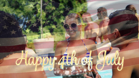 Happy 4th of July text with a flag and group of people on fourth of july Animation