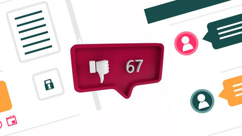 Dislike icon with increasing count in social media Animation