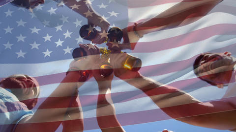 Group of friends clinking bottles and the American flag for fourth of July Animation