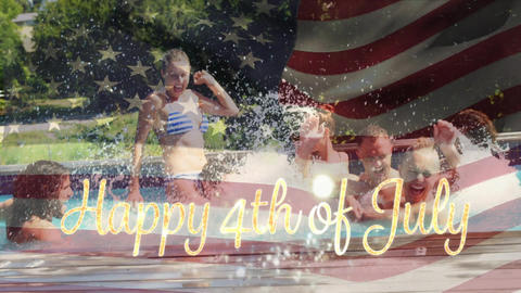 Friends in a pool and the American flag with a Happy 4th of July text Animation
