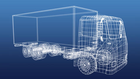 Technical drawing of truck Animation