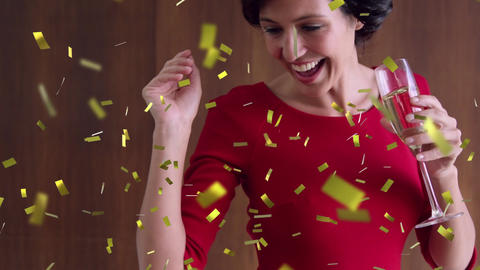 Woman dancing and confetti 4k Animation