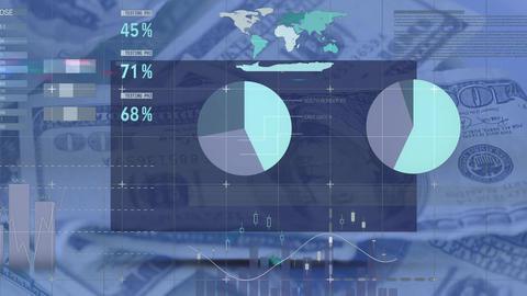 Graphs and data moving on dark image of dollar bills rotating behind Animation