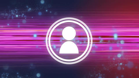 Circular white icon of person on pink light trails Animation