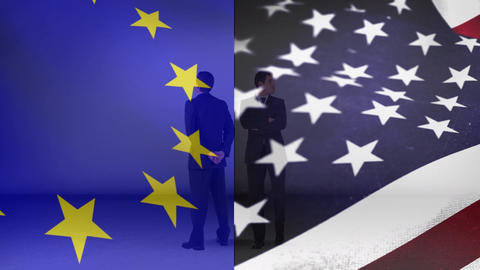 Flag of Europe beside the flag of the United States and two men Animation