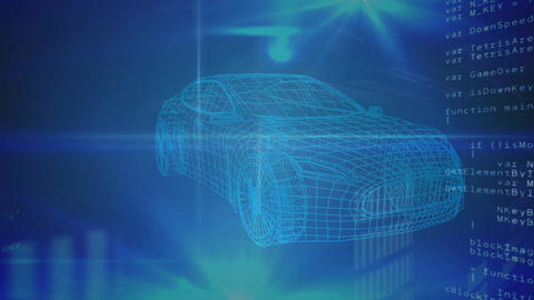 Revolving technical drawing of car on a blue background Animation