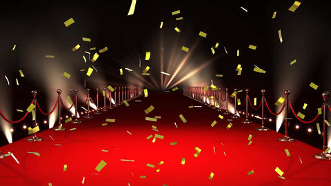 Red carpet and confetti Animation