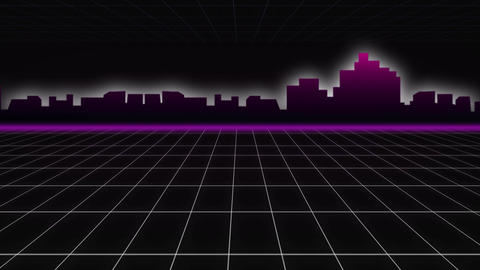 Outline of modern cityscape and grid Animation