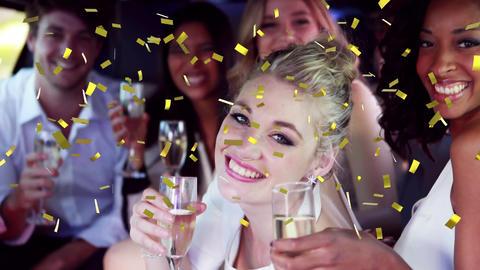 Friends celebrating inside a limousine Animation